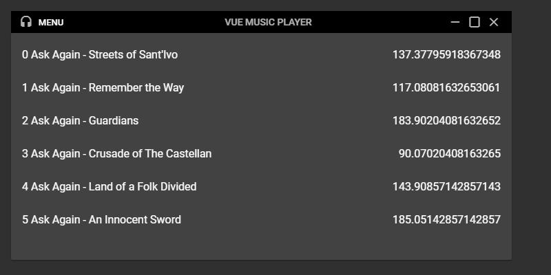 The player playlist panel
