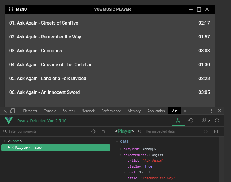 The player playlist with selected track shown in DevTools