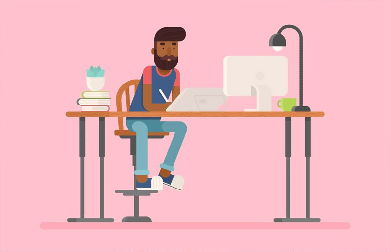 Illustrator at work