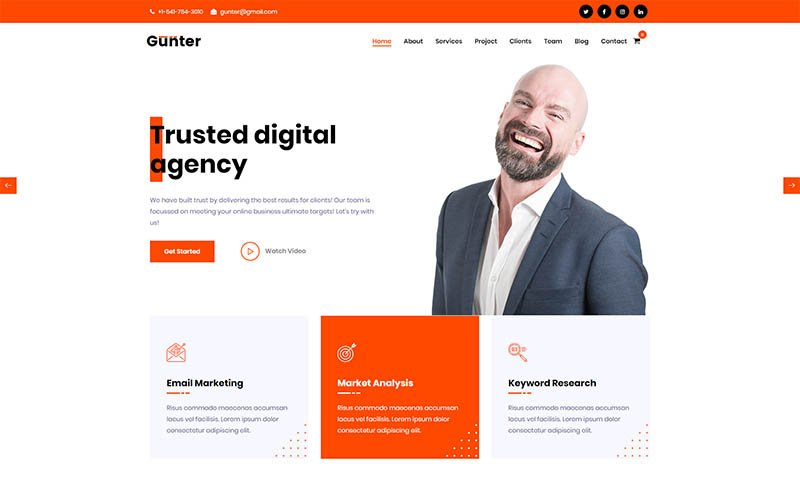 Gunter - IT  Marketing Startup WordPress Theme