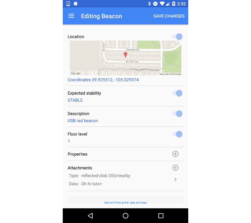 Configured beacon in Beacon Tools app