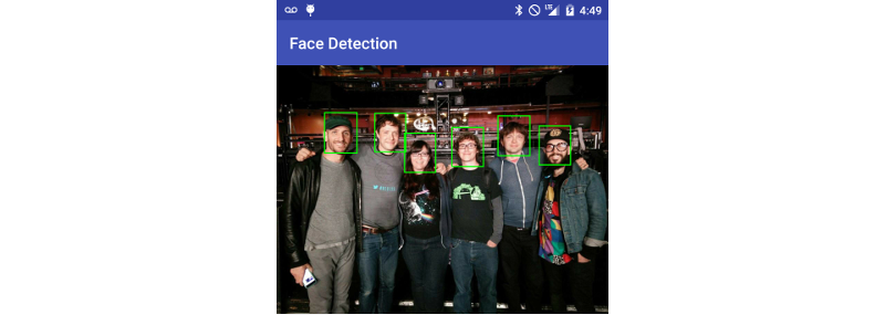 Faces detected via the Vision API