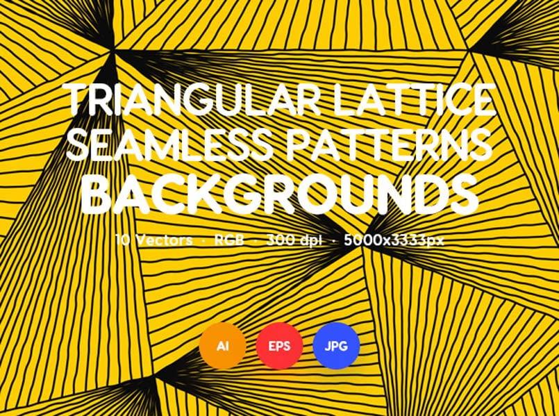 Wavy Triangular Lattice Seamless Patterns