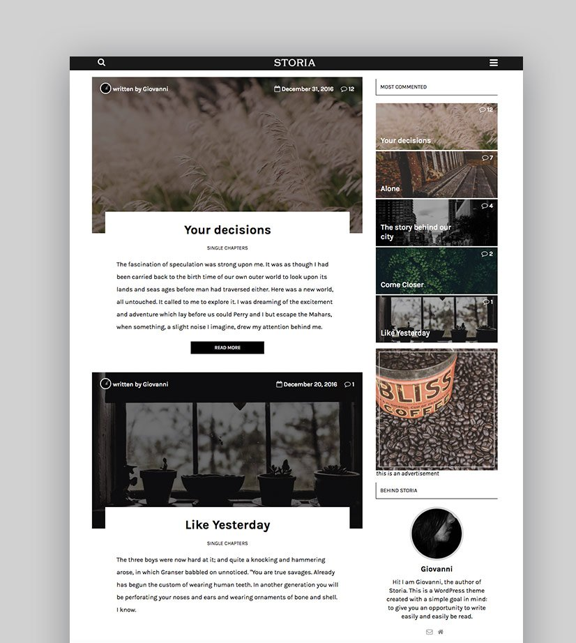 Storia Text Based WordPress Theme for Writers and Authors