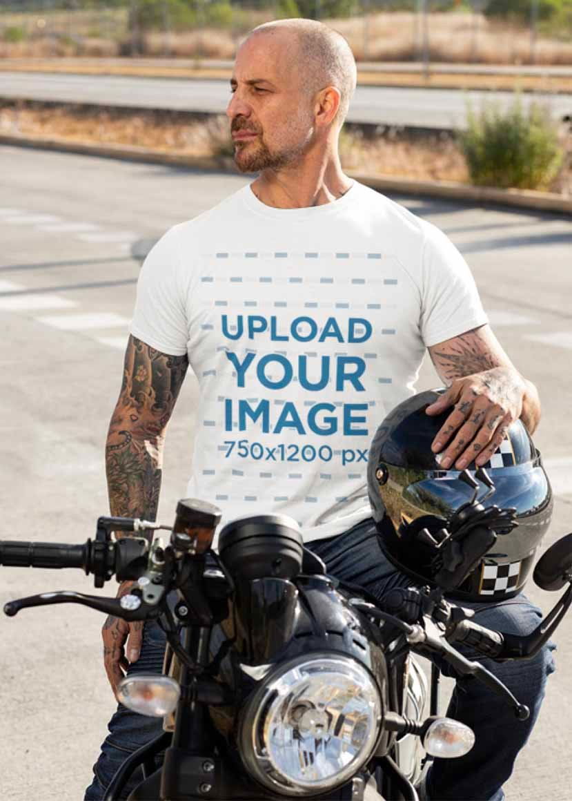 Clothing template Featuring a Man on His Motorcycle
