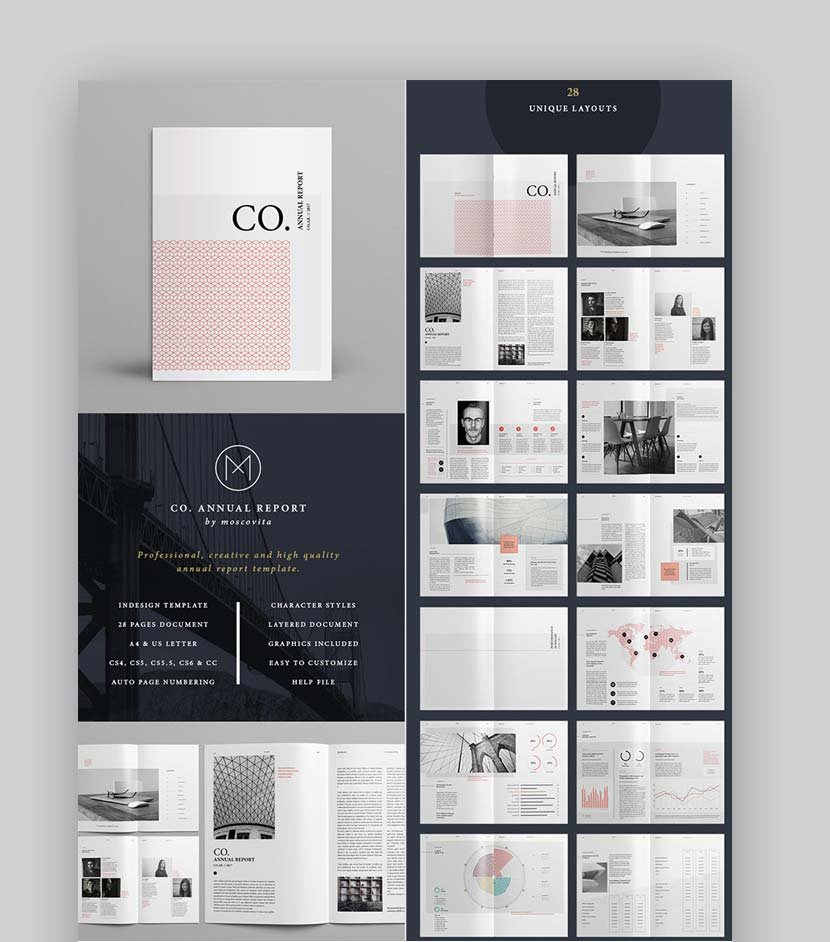 CO Minimal Annual Report InDesign Template Design