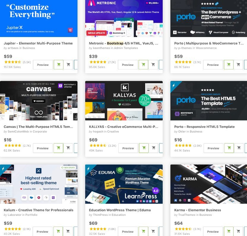 Bootstrap website templates on Themeforest
