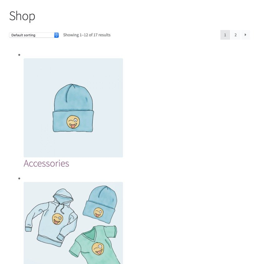 Unstyled category listings
