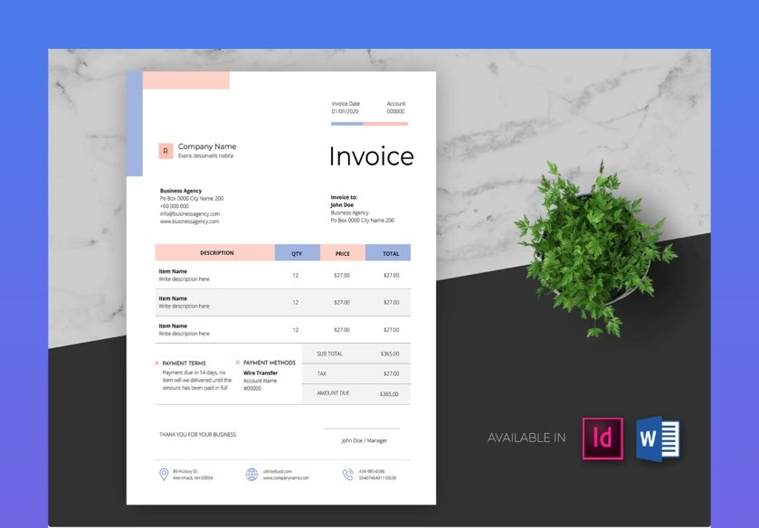 Clean and Minimal Business Invoice Ms Word
