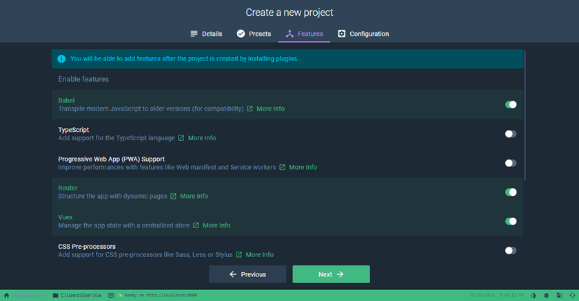Create a new project with Vue UI Select project features