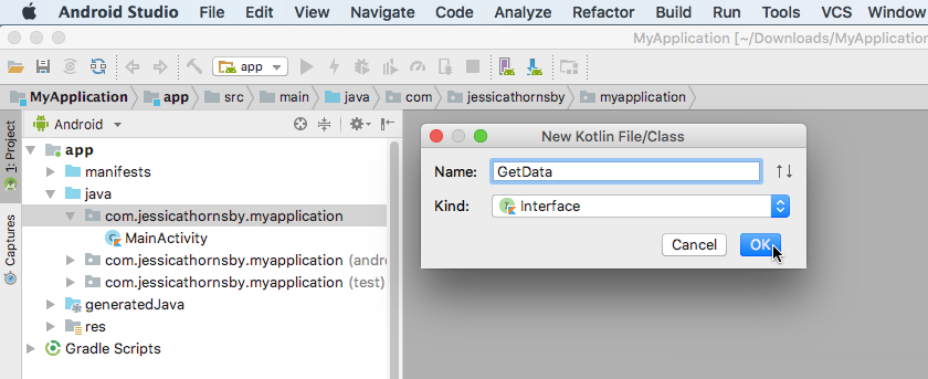 Create a new interface by selecting File  New  Kotlin FileClass from Android Studios toolbar