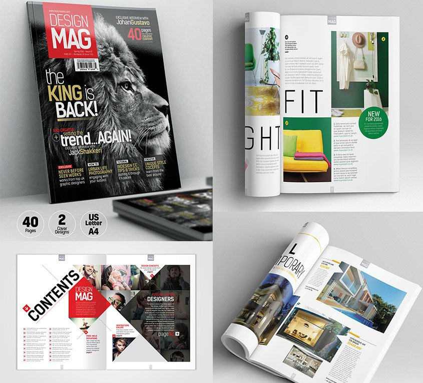 Magazine Template - InDesign 40 Page Layout V7