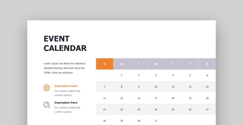Startup PowerPoint calendar template