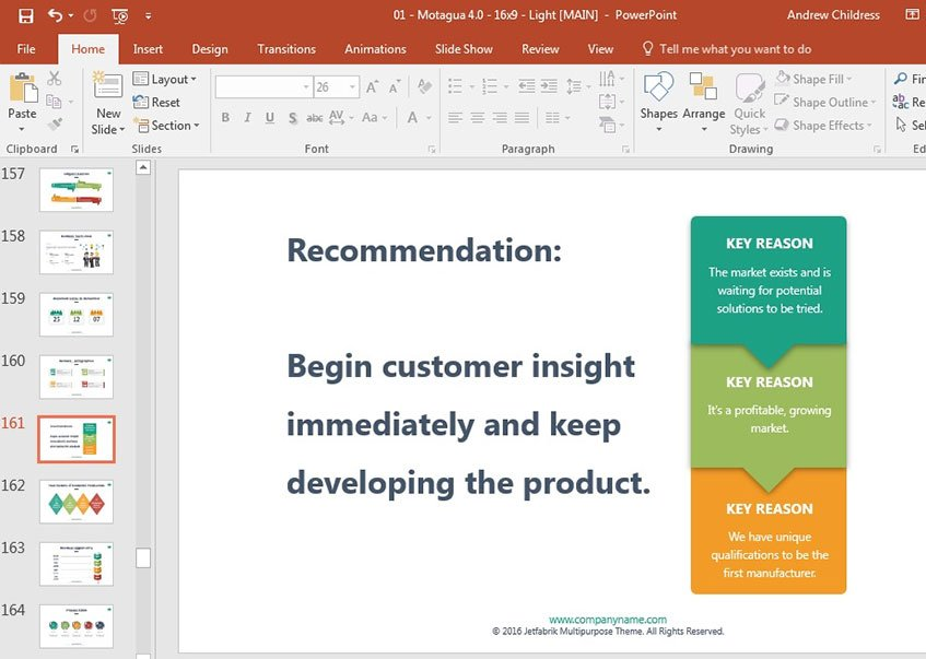 Decision driven presentation slide design