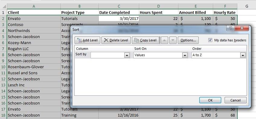 Custom sort window in Excel