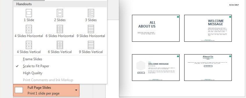 PowerPoint presentation Slide Handouts