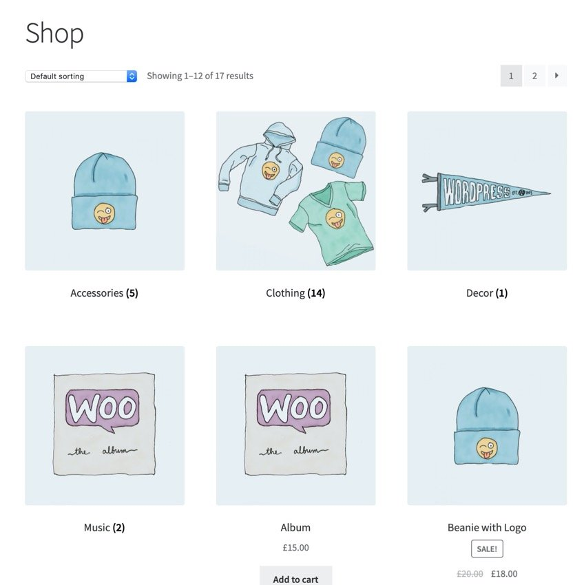 Shop page with categories and products