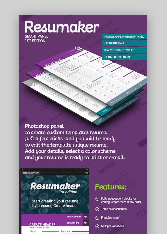 Unique Resume Templates - Resumaker Photoshop Panel