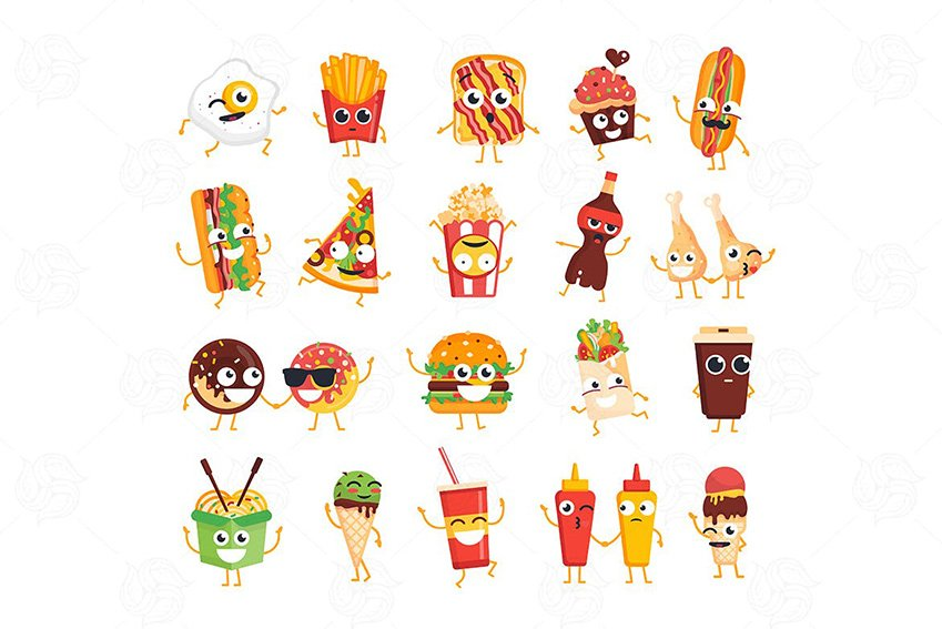 Fast Food Vector Chat Icons to Create Custom Twitch Emotes