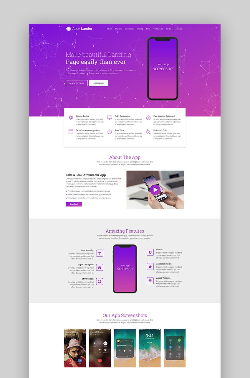 Appx landing landing page template