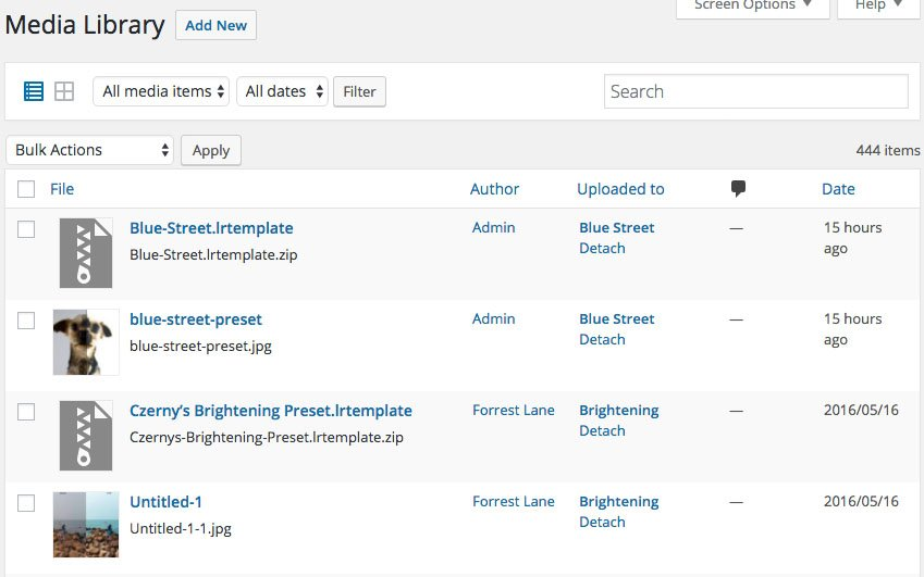 Media Library Screenshot