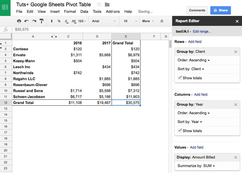 Sheets billings by year in Google Sheets pivot table