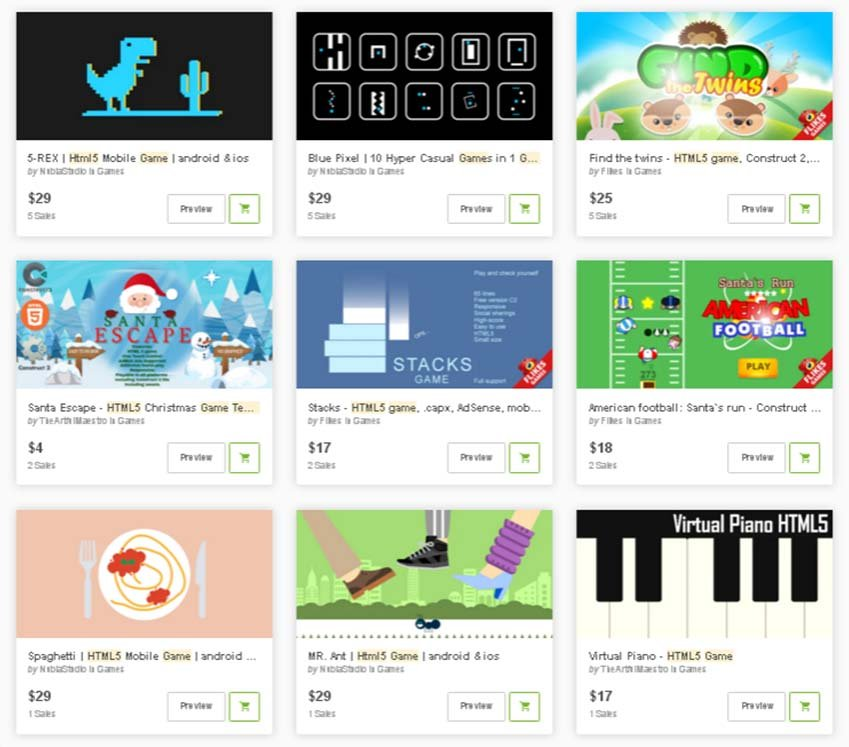 HTML5 and JavaScript game engines and templates on CodeCanyon