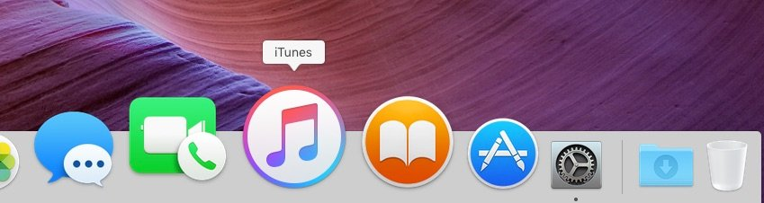 Magnified icons on the dock