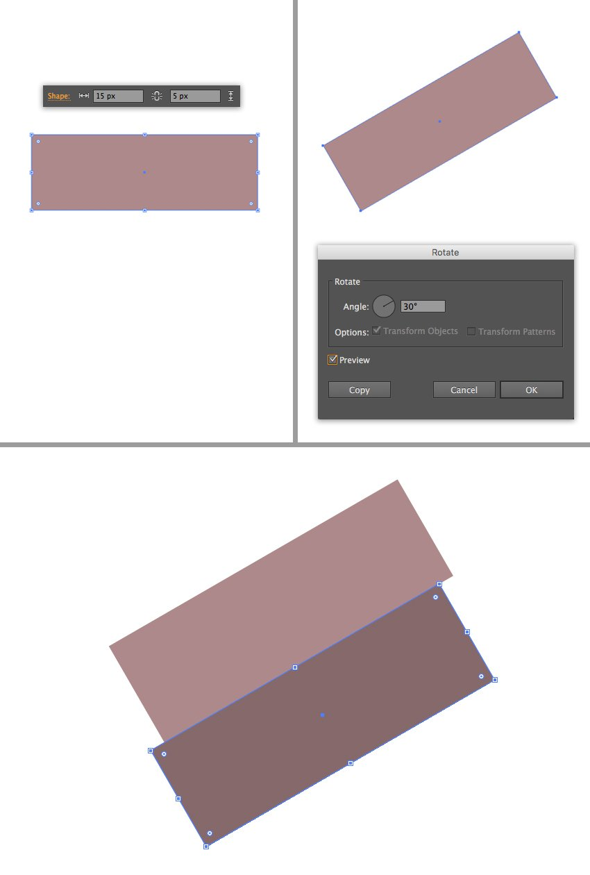 make two rectangles