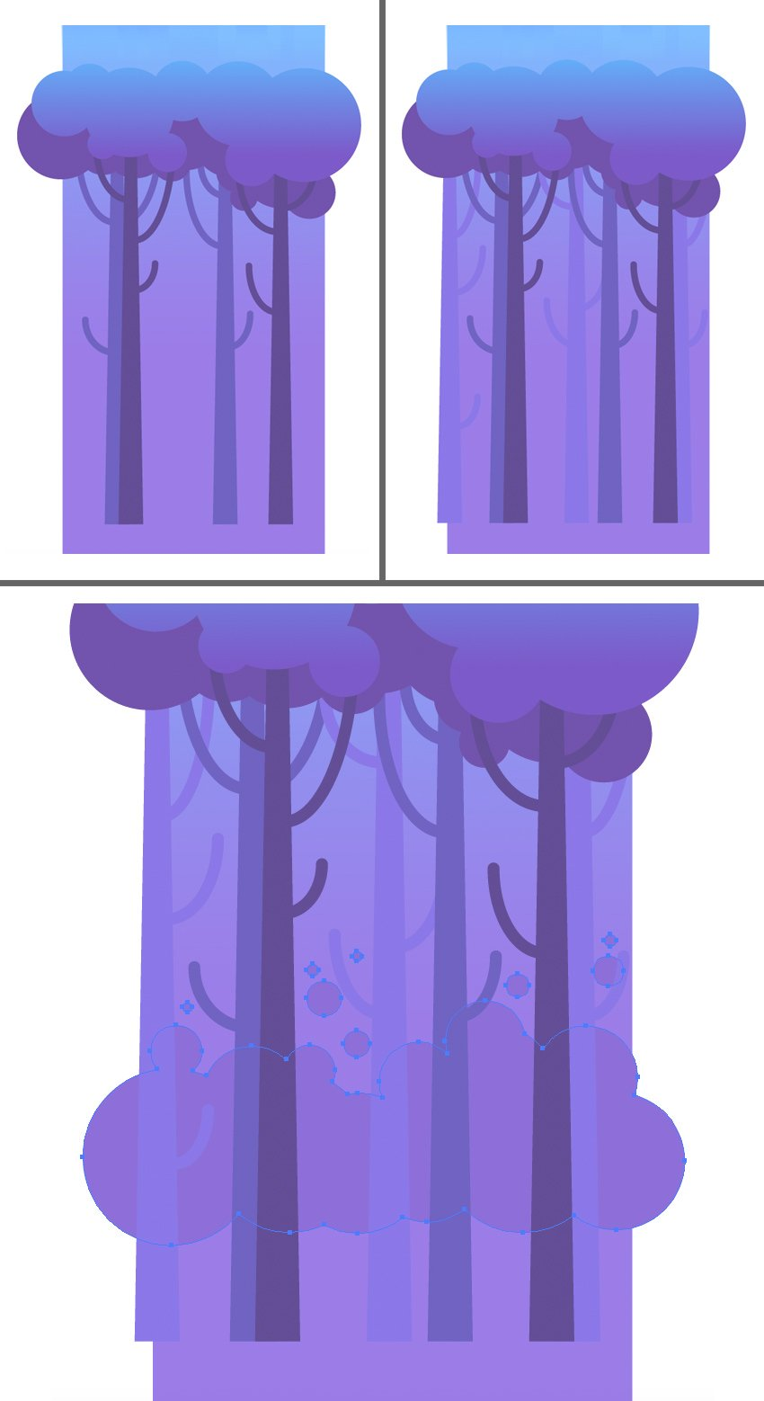 add more tree trunks