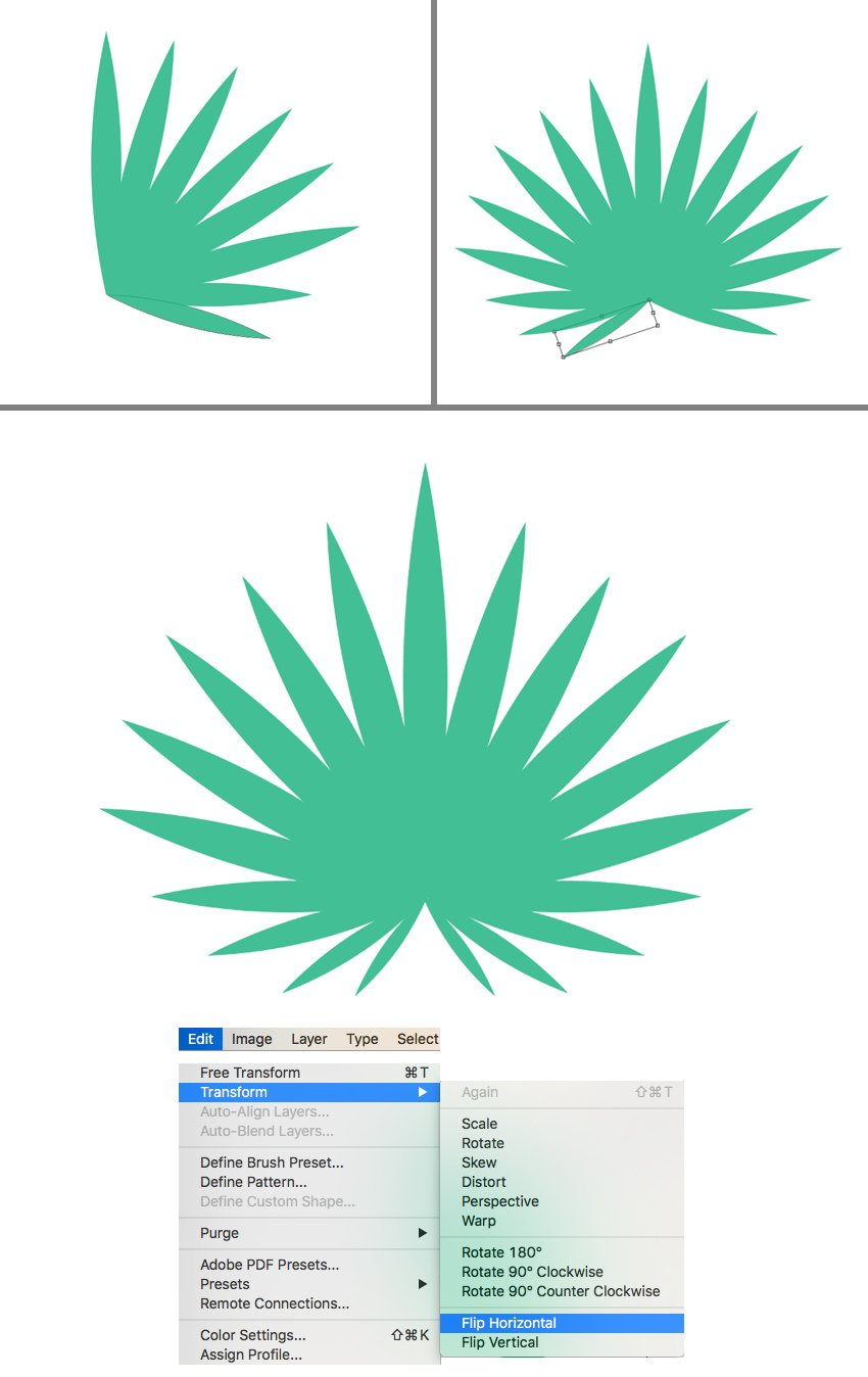 shape the palm leaf from copies