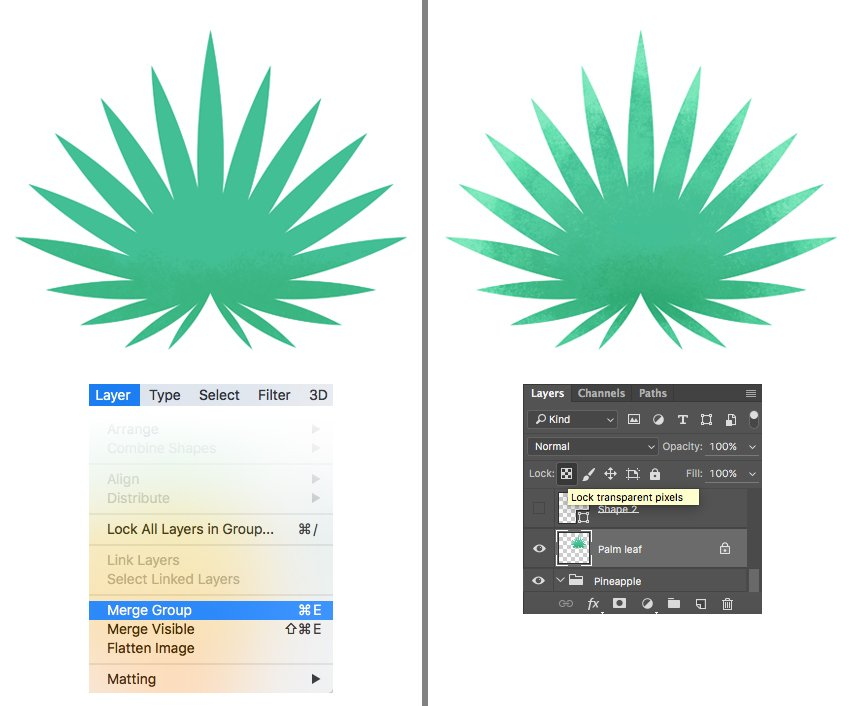 paint over the palm leaf with textured brush