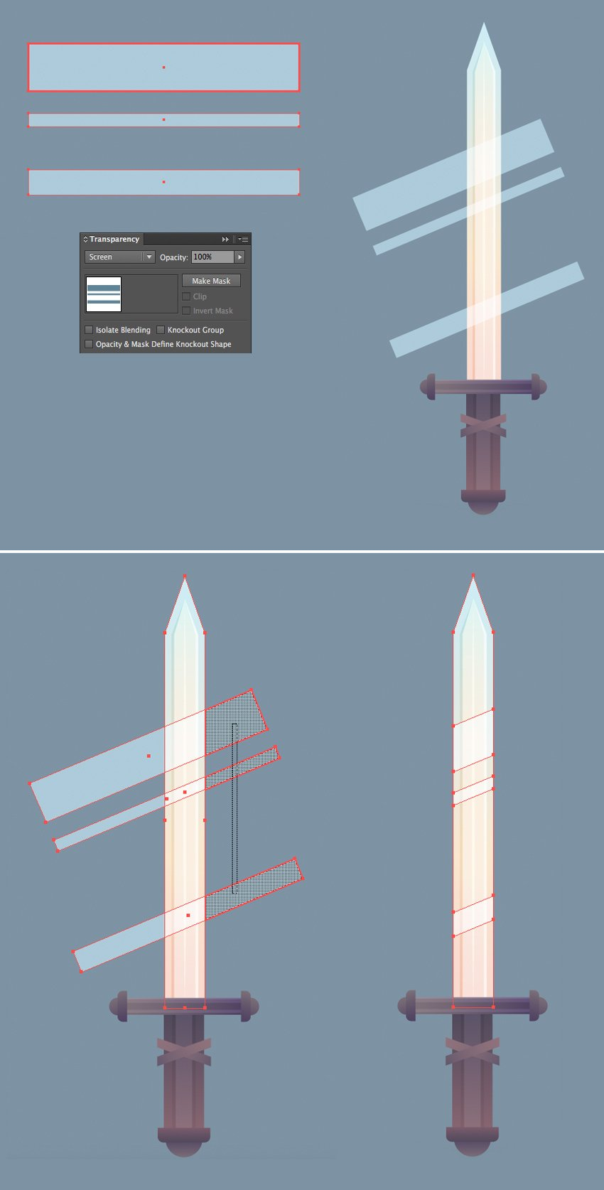 add highlights to the metal surface of our sword