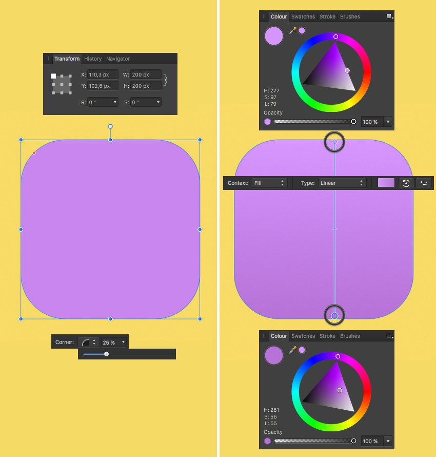 shape the head from rectangle with linear fill