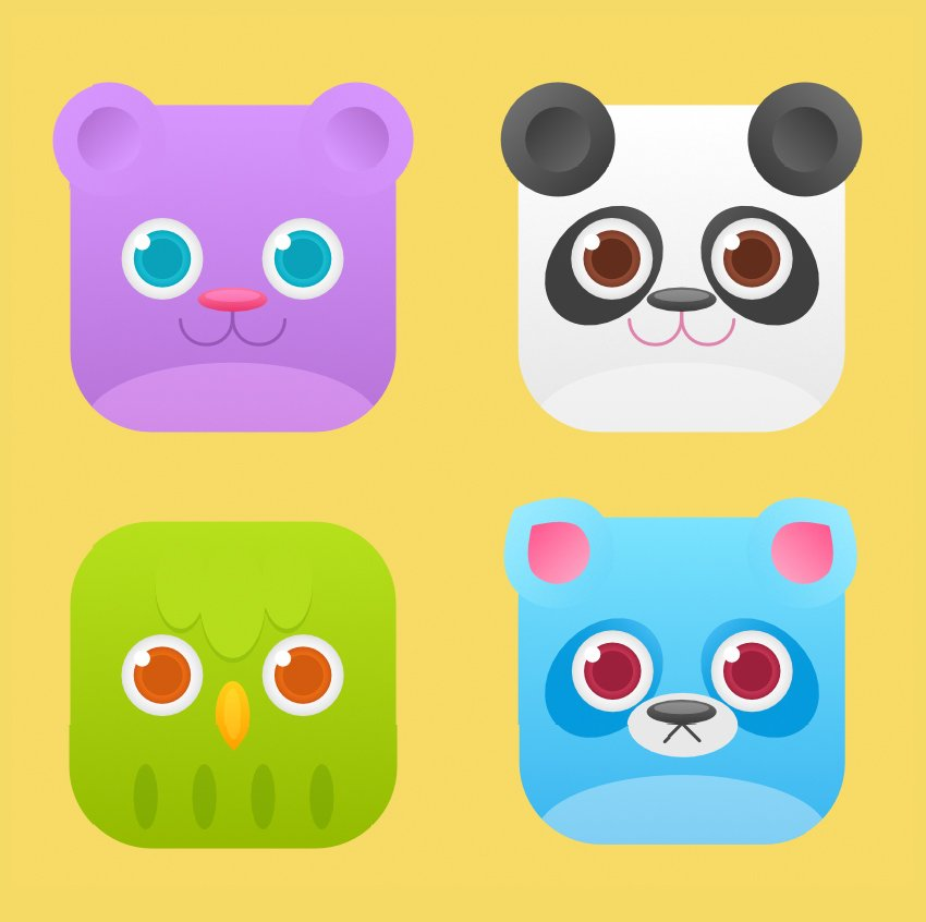 set of square flat animal icons is finished