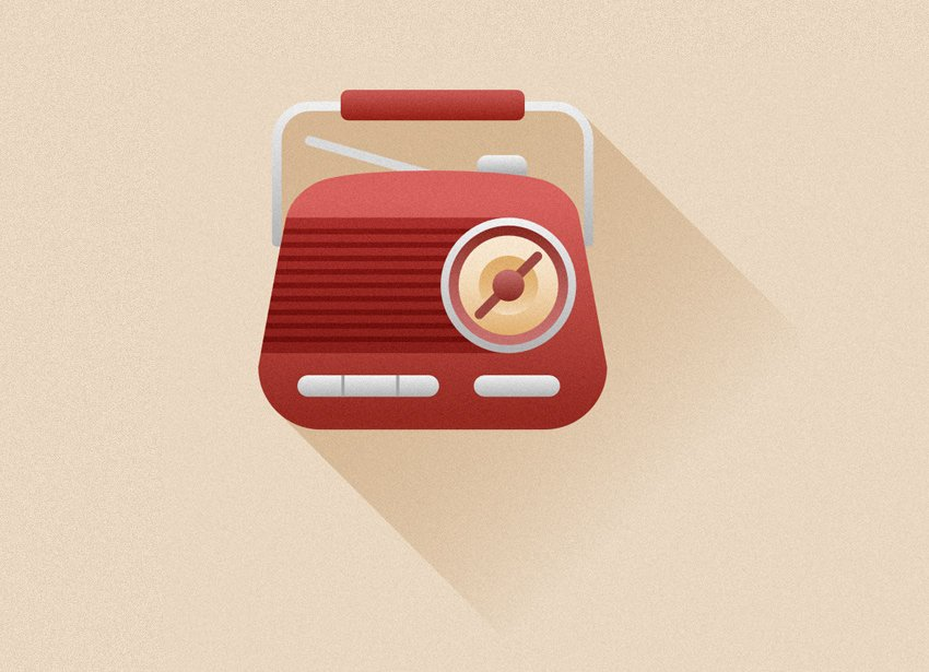 Finish up with the radio icon by adding a long flat semi-transparent shadow
