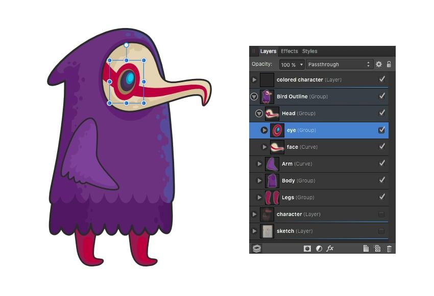 affinity designer layers panel