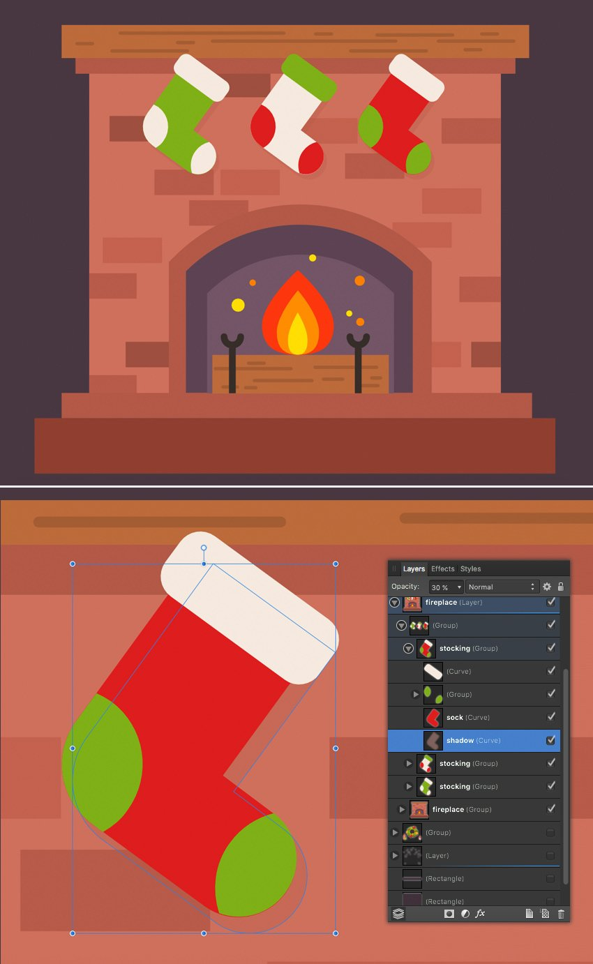 attach the stockings to the fireplace