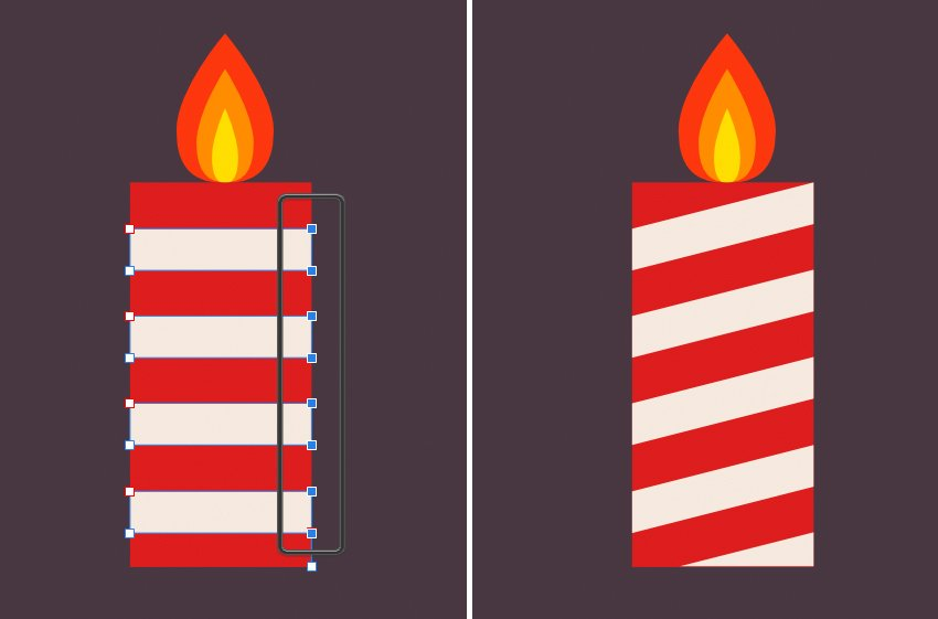 create a tall red candle with spiral white strokes