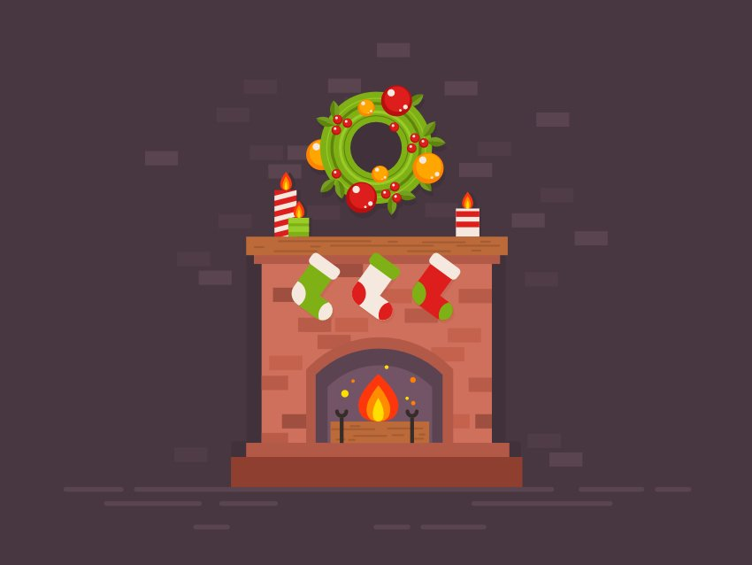 Festive Christmas Fireplace is Finished