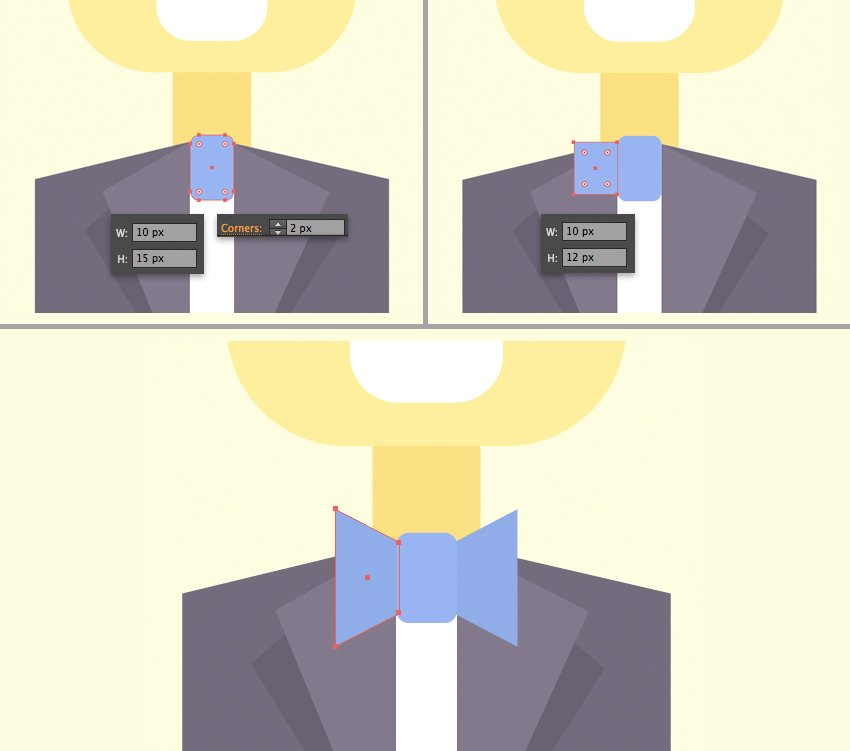 make a bow tie from blue rectangles