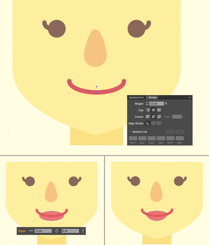 add a smiling mouth with stroke and ellipse