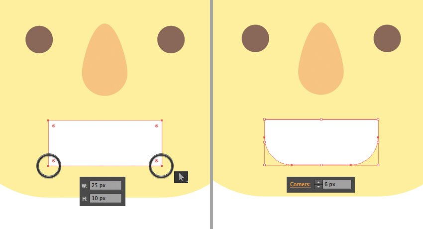 make a smiling mouth using the Rectangle Tool