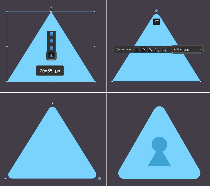 make an icon with triangle tool