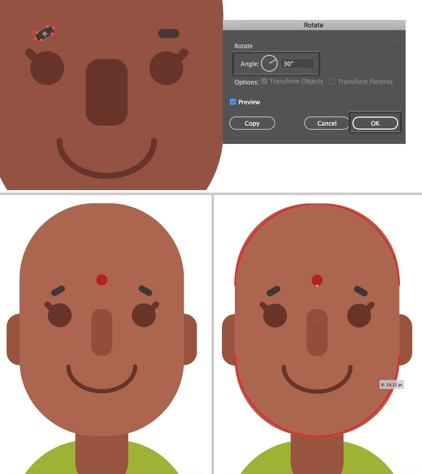 rotate the eyebrows and reshape the head