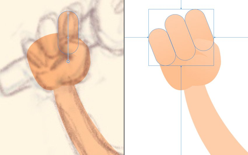 Use the Rounded Rectangle Tool M to create the fingers