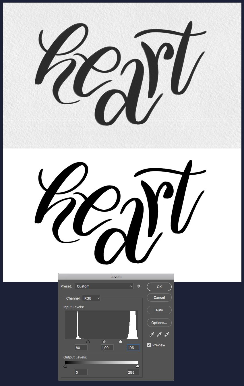 digitise your lettering and use Levels