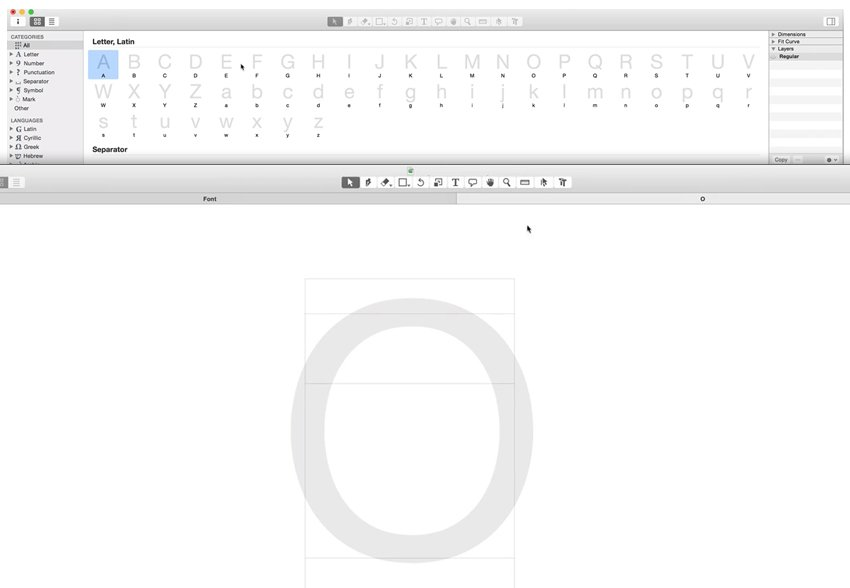 Glyphs app interface