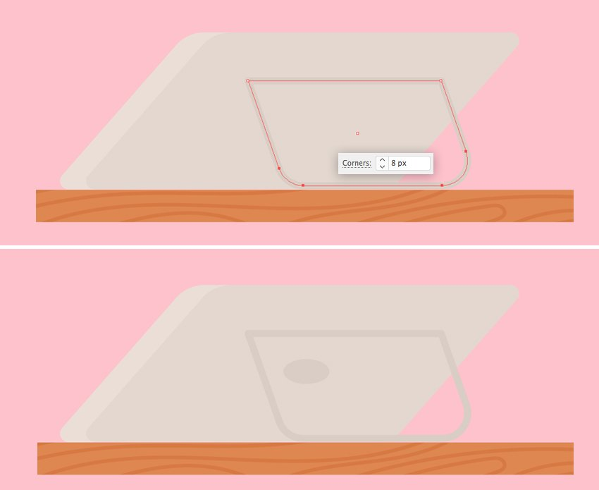 make a stand for the tablet 2 rounded corners