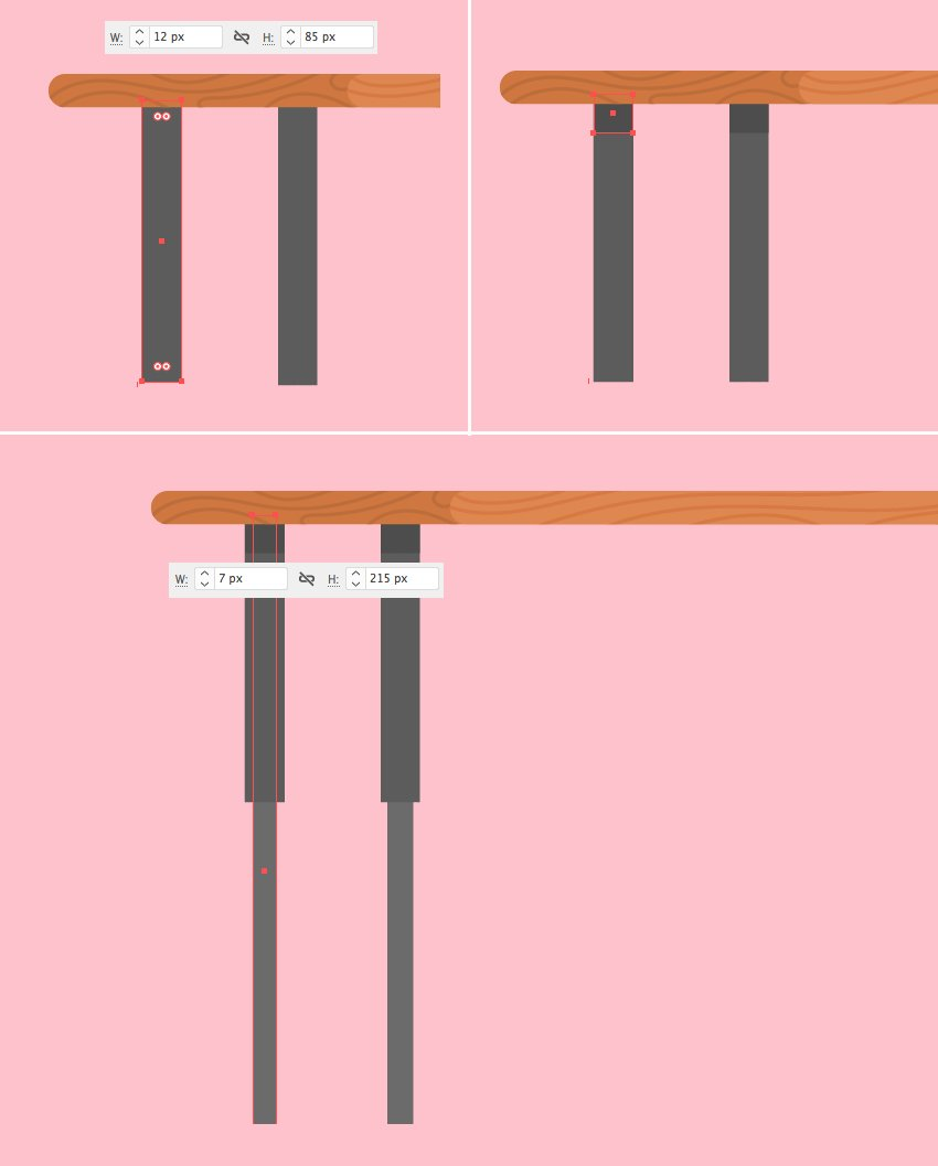 create table legs from rectangles 1